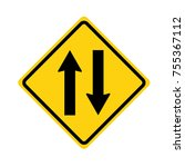 two way traffic sign on white... | Shutterstock .eps vector #755367112