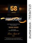 58 years golden anniversary... | Shutterstock .eps vector #755367115