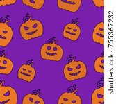 seamless halloween pattern with ... | Shutterstock .eps vector #755367232