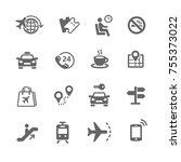 set of travel icons | Shutterstock .eps vector #755373022