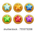 golden round assets with... | Shutterstock .eps vector #755373208