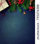 christmas or new year dark... | Shutterstock . vector #755376388