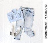 light blue shirt  ripped... | Shutterstock . vector #755380942