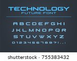 technology font. geometric ... | Shutterstock .eps vector #755383432
