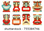 collection of tiki tribal mask. ... | Shutterstock .eps vector #755384746