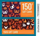 vector halloween gift card or... | Shutterstock .eps vector #755388802