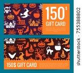 vector halloween gift card or... | Shutterstock .eps vector #755388802