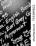 Small photo of Hand written chalk menu board featured the word Earl Grey prominently