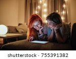 two young women lying on the... | Shutterstock . vector #755391382