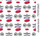 vector girly seamless pattern... | Shutterstock .eps vector #755391865