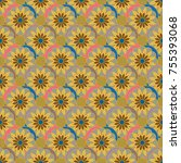new color seamless pattern with ... | Shutterstock . vector #755393068