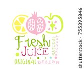 fresh juice natural product... | Shutterstock .eps vector #755395846