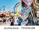 oktoberfest gingerbread hearts  ...   Shutterstock . vector #755396188