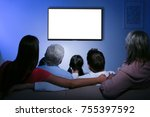 family and blank tv display at... | Shutterstock . vector #755397592