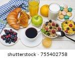 breakfast served with orange... | Shutterstock . vector #755402758