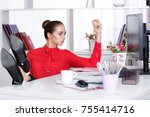 attractive young business woman ... | Shutterstock . vector #755414716