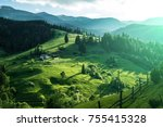scenic mountain landscape ...   Shutterstock . vector #755415328