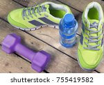 sports sneakers  dumbbells ... | Shutterstock . vector #755419582