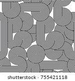seamless linear creative circle ... | Shutterstock .eps vector #755421118