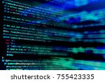 screen with software developer... | Shutterstock . vector #755423335