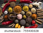 variety of spices and herbs on... | Shutterstock . vector #755430328