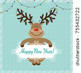 happy new year christmas... | Shutterstock .eps vector #755432722