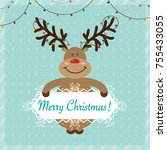 merry christmas greeting card.... | Shutterstock .eps vector #755433055