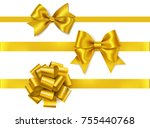 vector set of golden bows... | Shutterstock .eps vector #755440768