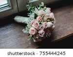 wedding flowers bride bouquet... | Shutterstock . vector #755444245