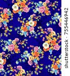 watercolor flower pattern navy...   Shutterstock . vector #755446942