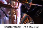 pipes in the hands of musicians.... | Shutterstock . vector #755452612