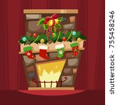christmas fireplace with a... | Shutterstock .eps vector #755458246