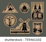 vintage paper landmarks travel... | Shutterstock .eps vector #755461102