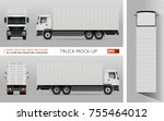 container truck vector mock up... | Shutterstock .eps vector #755464012