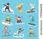 snowboarder people tricks...   Shutterstock .eps vector #755466658