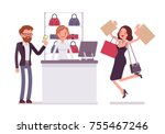 man paying for shopping. young... | Shutterstock .eps vector #755467246