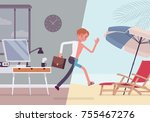 man leaps to vacation. young... | Shutterstock .eps vector #755467276