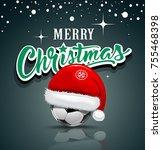 merry christmas  santa hat on...   Shutterstock .eps vector #755468398