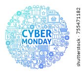 cyber monday line circle design.... | Shutterstock .eps vector #755471182