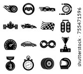 car race icons set. simple... | Shutterstock .eps vector #755471596