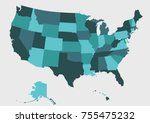 detailed usa map on green...   Shutterstock .eps vector #755475232