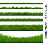 green grass border big... | Shutterstock . vector #755477836