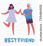 card with vector illustration... | Shutterstock .eps vector #755484505
