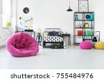 pink pouf and toys in scandi... | Shutterstock . vector #755484976