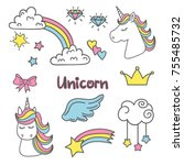 cute magic set with unicorn ... | Shutterstock .eps vector #755485732