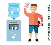 vector water cooler and man....   Shutterstock .eps vector #755495482