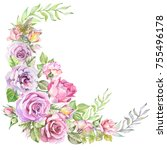 Watercolor Flowers Corner With...