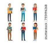 six different people enloy... | Shutterstock . vector #755496268