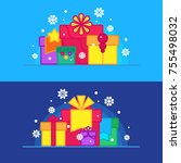 christmas and new year gift... | Shutterstock .eps vector #755498032