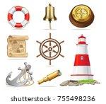 marine attributes set of... | Shutterstock . vector #755498236
